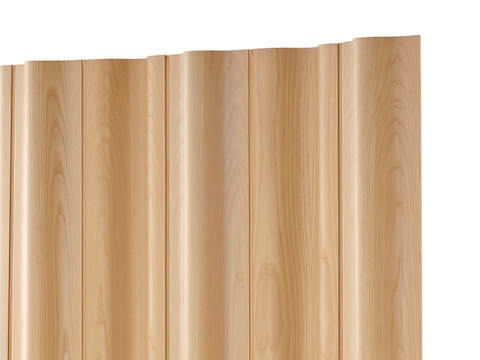 An Eames Molded Plywood Folding Screen in a light wood finish.