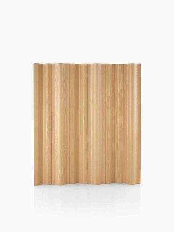 A plywood folding screen in a light wood finish.