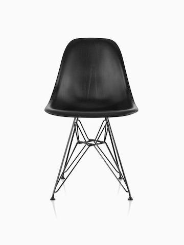 Black Eames Molded Wood side chair with a wire base, viewed from the front.