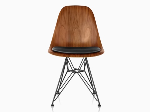 Eames Molded Wood side chair with a black seat pad and wire base, viewed from the front.