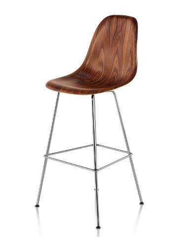 Eames Molded Wood Stool with a dark finish and silver legs, viewed from a 45-degree angle.