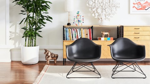 Two Eames Moulded Plastic Armchairs with low wire bases on a rug in a living room setting.