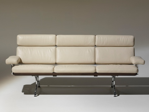 Ivory-colored Eames Sofa, viewed from the front.