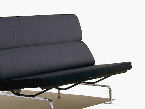 Charmant Angled View Of A Black Eames Sofa Compact, Featuring The Foam Seat And Back  Cushions