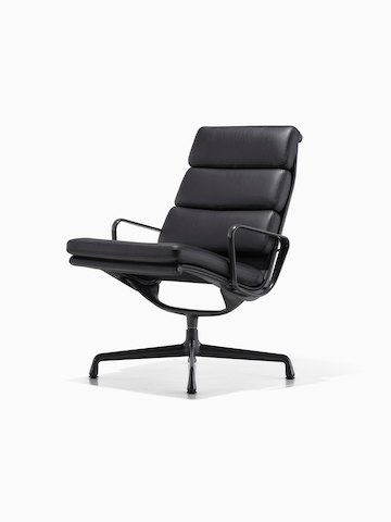 lounge chair for office. Black Leather Eames Soft Pad Lounge Chair, Viewed From A 45-degree Angle. Chair For Office E