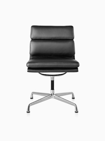 Black leather Eames Soft Pad mid-back chair, viewed from the front.