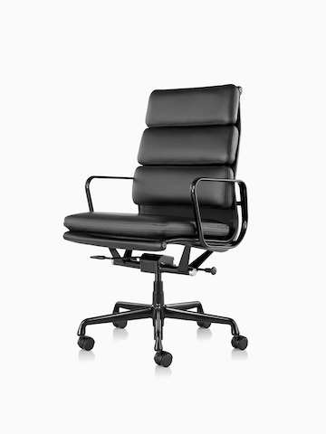 Black leather Eames Soft Pad high-back executive chair, viewed from a 45-degree angle.