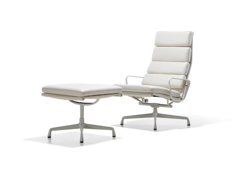 White leather Eames Soft Pad lounge chair and ottoman.