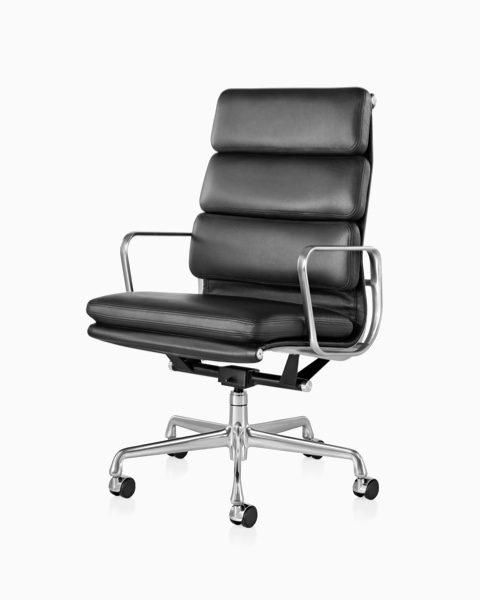 Eames Soft Pad high-back executive chair in black leather.