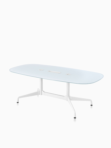 An oval Eames conference table. Select to go to the Eames Tables product page.
