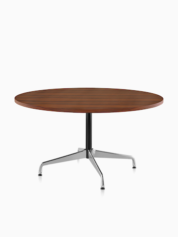 A round Eames Table with a dark veneer top. Select to go to the Eames Tables product page.