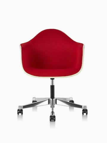 Eames Task Chair with red upholstery and off-white fiberglass shell, viewed from the front.