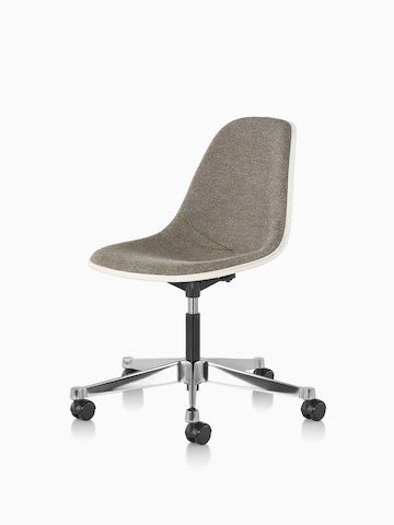 Eames Task Chair with brown upholstery and off-white fiberglass shell, viewed at an angle.