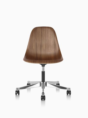Eames Task Chair with walnut shell, viewed from the front.