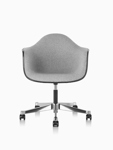Front view of Eames Task Chair with gray fiberglass shell and gray upholstery.
