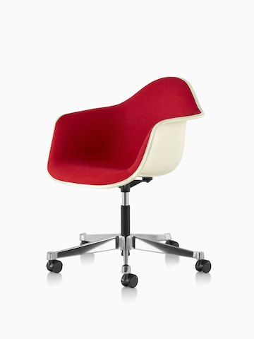 Angled view of Eames Task Chair with red upholstery and off-white fiberglass shell.