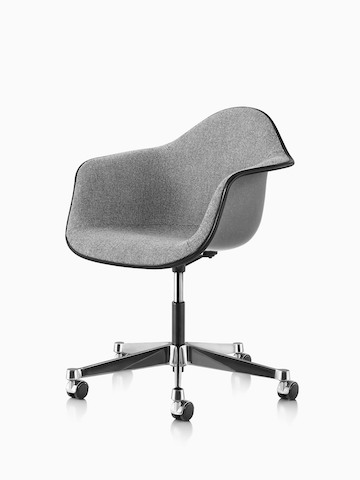 Eames Task Chair with gray fiberglass shell and gray upholstery, viewed at an angle.