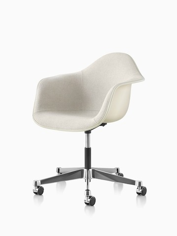Angled view of Eames Task Chair with off-white upholstery and off-white fiberglass shell.