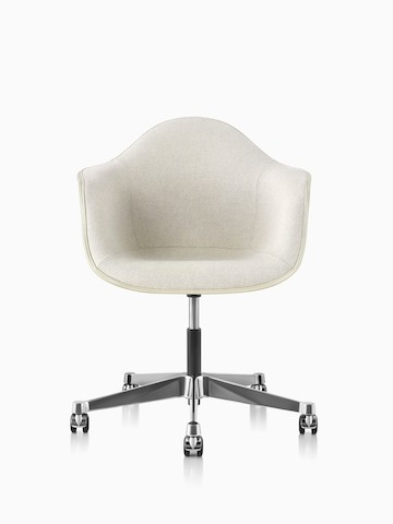Eames Task Chair with off-white upholstery and off-white fiberglass shell, viewed from the front.