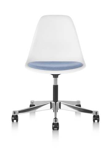 Eames Task Chair with blue upholstered seat pad and white plastic shell, viewed from the front.