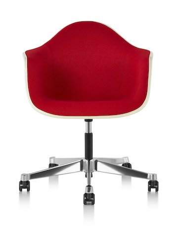 Front view of Eames Task Chair with off-white fiberglass shell and red upholstery.