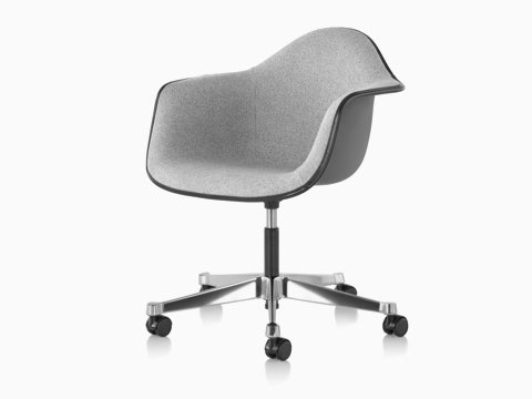 Angled view of Eames Task Chair with gray fiberglass shell and gray upholstery.