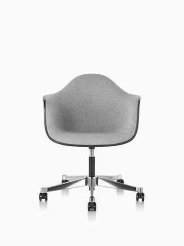 Eames Task Chair with gray fiberglass shell and gray upholstery.