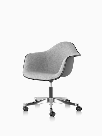Eames Task Chair with gray fiberglass shell and gray upholstery. Select to go to the Eames Task Chair product page.