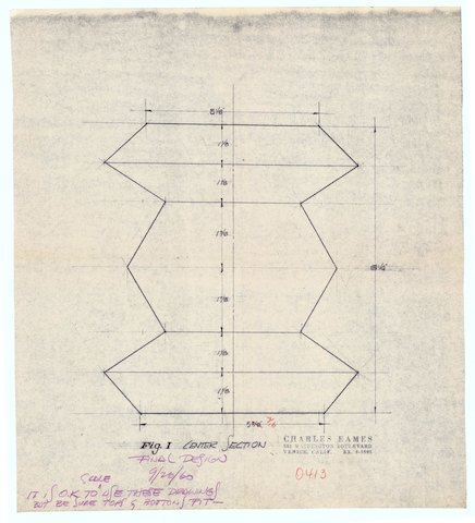 The final design drawing of the Eames Walnut Stool, dated September 1960.