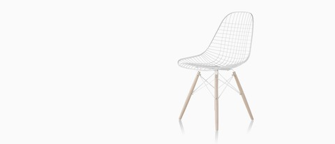 Eames Wire side chair with a wire base, viewed from a 45-degree angle.