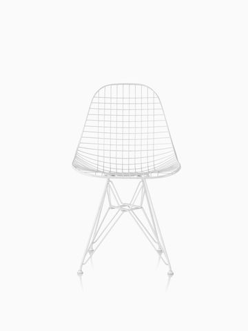 Eames Wire Chair Outdoor with white finish and wire base.