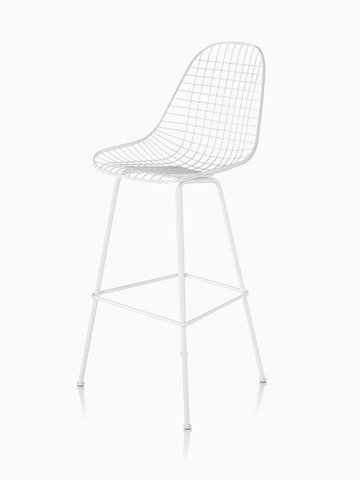 White Eames Wire Stool, viewed from a 45-degree angle.