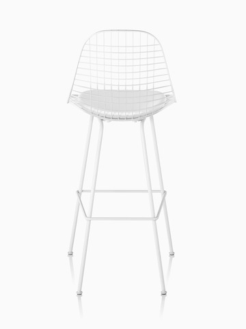 White Eames Wire Stool with a white seat pad, viewed from the rear.