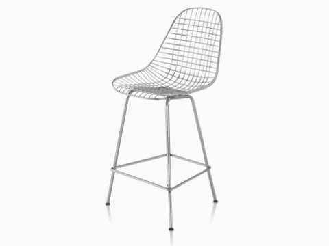 Upper half of a silver Eames Wire Stool, viewed from a 45-degree angle.