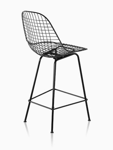 Eames Wire Stool Outdoor with black finish in counter height.