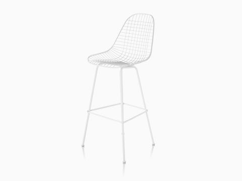 Eames Wire Stool Outdoor with white finish and bar height base.