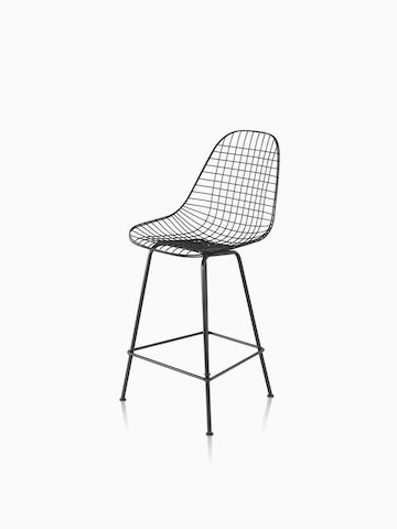 Eames Wire Stool Outdoor with black finish in counter height. Select to go to the Eames Wire Stool Outdoor product page.