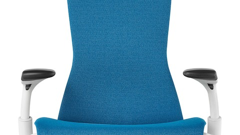 Front view of a blue Embody office chair, showing the seat, back, and adjustable arms.