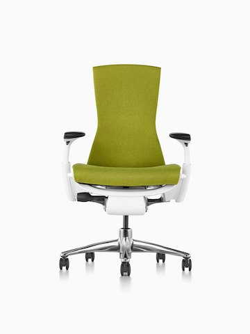 Green Embody office chair, viewed from the front.
