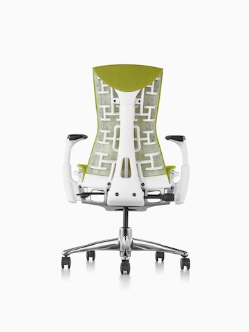 Green Embody office chair, viewed from the back.