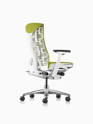 Three-quarters view of a Green Embody office chair, showing the back and side.