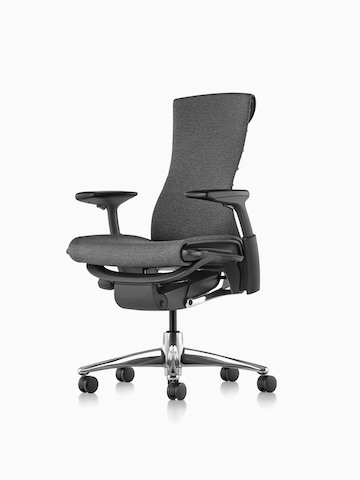 Three-quarters view of a black Embody office chair, showing the front and side.
