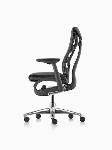 Black Embody office chair, viewed from the side.