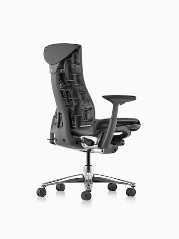 Three-quarters view of a black Embody office chair, showing the back and side.