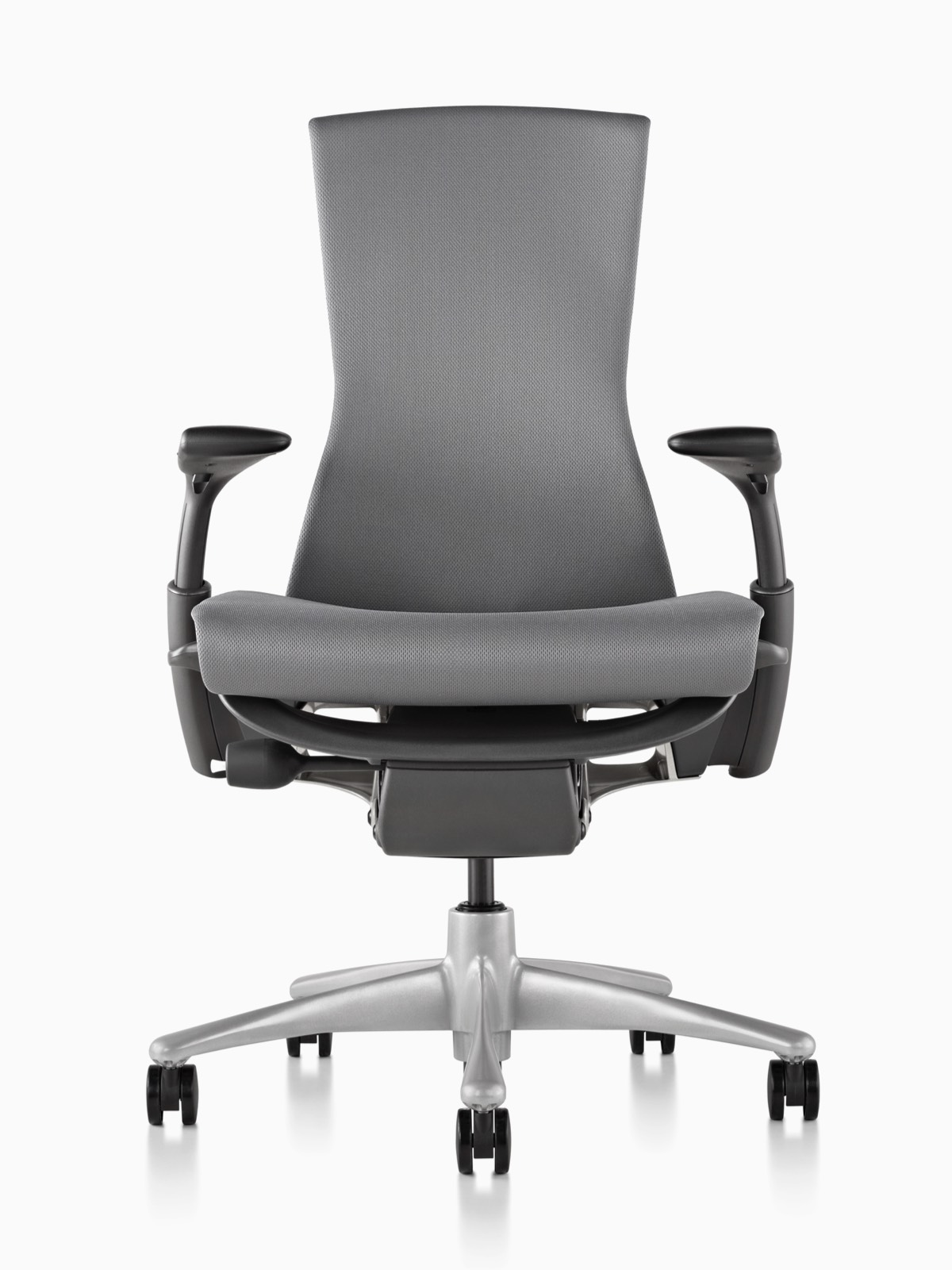 Full front view of a light gray Embody office chair with black armpads.