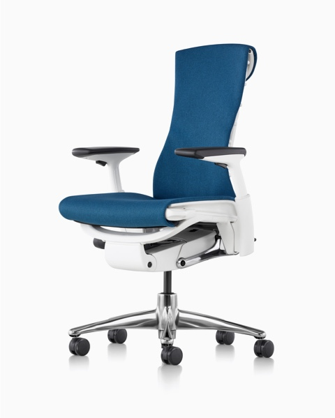 Blue Embody office chair with a white frame with polished aluminum base.