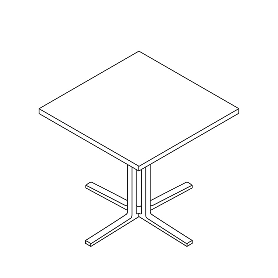 A line drawing of a square Everywhere Table.