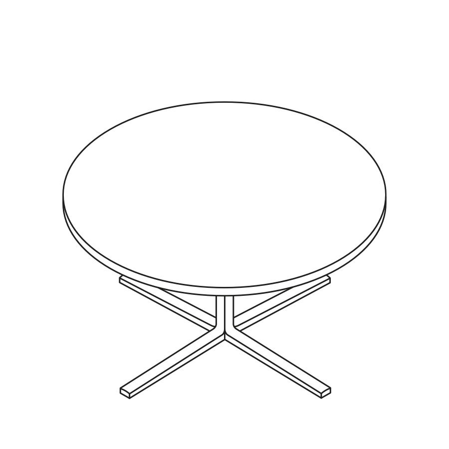 A line drawing of a round occasional Everywhere Table.