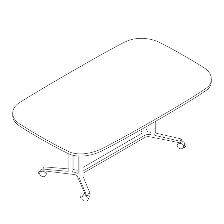 A line drawing of an Everywhere soft rectangle meeting table.
