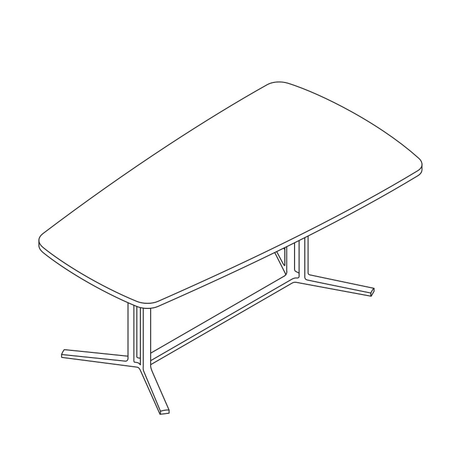 A line drawing of an oval Everywhere Table.